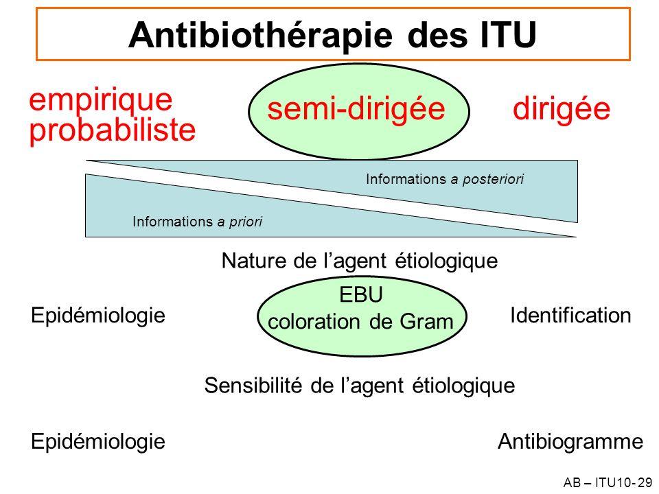 AB – ITU10- 29 Antibiothérapie des ITU Informations a priori empirique dirigée probabiliste Informations a posteriori semi-dirigée Nature de lagent ét