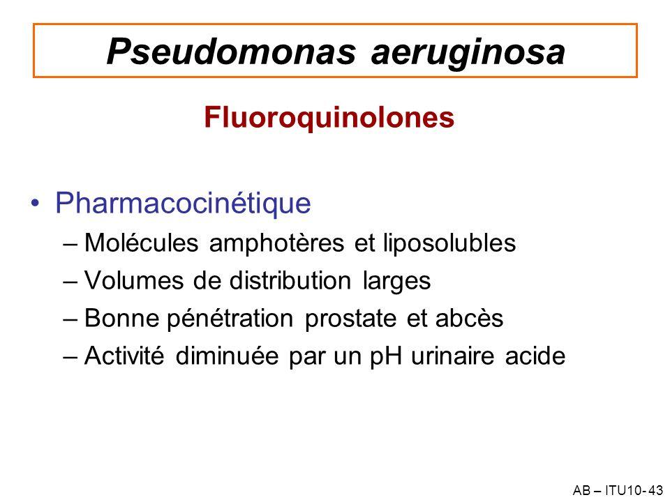 AB – ITU10- 43 Pseudomonas aeruginosa Fluoroquinolones Pharmacocinétique –Molécules amphotères et liposolubles –Volumes de distribution larges –Bonne