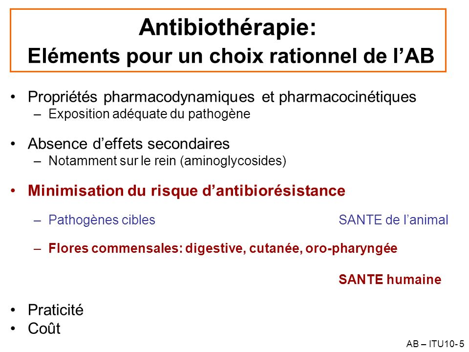 AB – ITU10- 56 Schémas posologiques : selon les critères PK/PD Antibiotiques concentration-dépendants –Accroître Cmax/CMI ou AUC/CMI –Aminoglycosides, Fluoroquinolones –Dose journalière en 1 prise