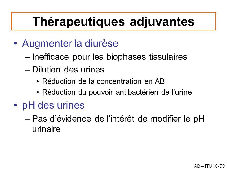 AB – ITU10- 59 Thérapeutiques adjuvantes Augmenter la diurèse –Inefficace pour les biophases tissulaires –Dilution des urines Réduction de la concentr