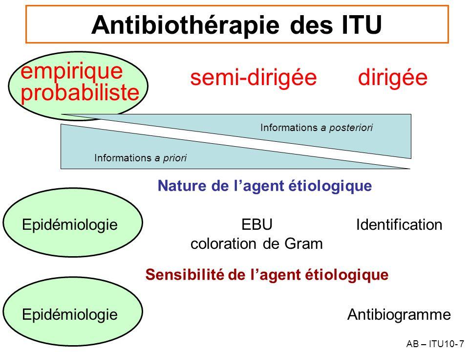 AB – ITU10- 7 Antibiothérapie des ITU Informations a priori empirique dirigée probabiliste Informations a posteriori semi-dirigée Nature de lagent éti