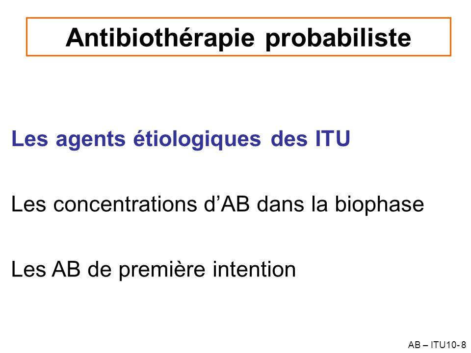 AB – ITU10- 9 Flore résidente du tractus urinaire Le tractus urinaire est normalement stérile sauf à lextrémité distale de lurètre (G+ & G-) –Lurine est normalement stérile –Importance pour linterprétation dune culture urinaire en fonction des modalités de prélèvement Présence dune flore résidente dans la vagin, le prépuce (lactobacillus et Staphylococcus) –Rôle de flore de barrière –Contamination déchantillons urinaires