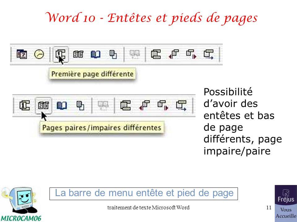 traitement de texte Microsoft Word10 Word 2002 - Entêtes et pieds de pages Numéro de page Nombre de pages Numéro début Date du jour heure Possibilité davoir des entêtes et bas de page différents, page impaire/paire La barre de menu entête et pied de page