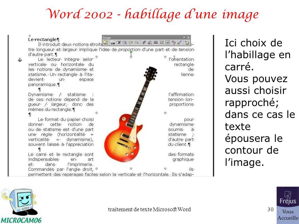 traitement de texte Microsoft Word29 Word 2002 - habillage dune image Licône dhabillage est représentée par un petit chien.