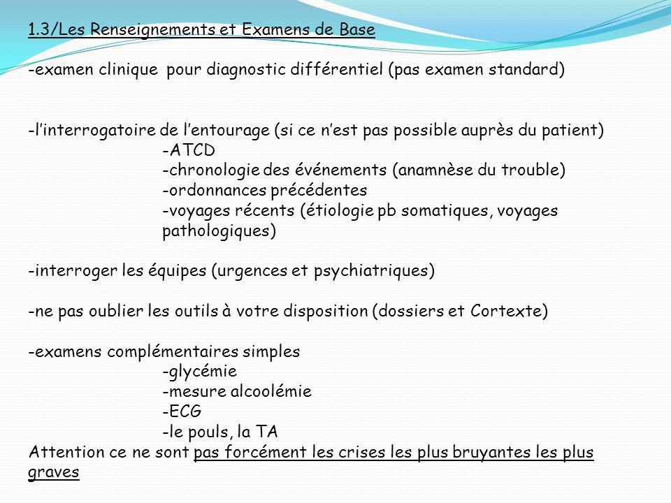 1.3/Les Renseignements et Examens de Base -examen clinique pour diagnostic différentiel (pas examen standard) -linterrogatoire de lentourage (si ce ne
