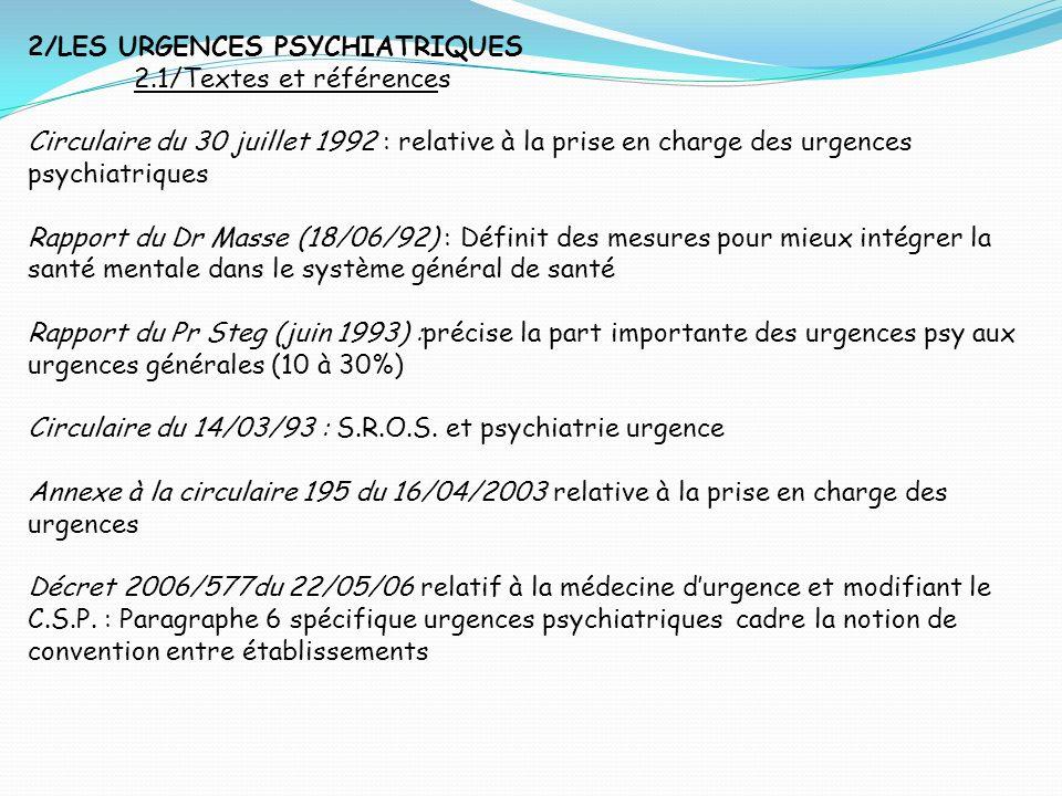 2/LES URGENCES PSYCHIATRIQUES 2.1/Textes et références Circulaire du 30 juillet 1992 : relative à la prise en charge des urgences psychiatriques Rappo