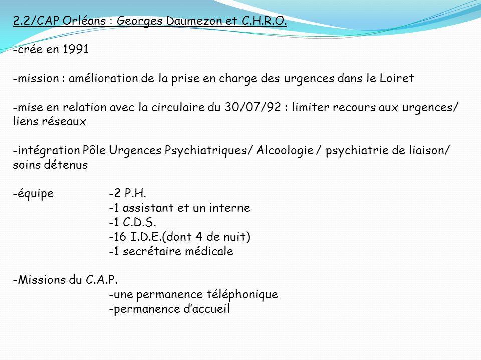 2.2/CAP Orléans : Georges Daumezon et C.H.R.O. -crée en 1991 -mission : amélioration de la prise en charge des urgences dans le Loiret -mise en relati
