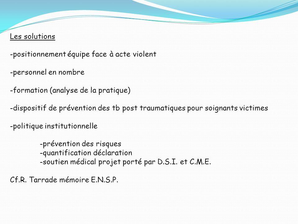 Les solutions -positionnement équipe face à acte violent -personnel en nombre -formation (analyse de la pratique) -dispositif de prévention des tb pos