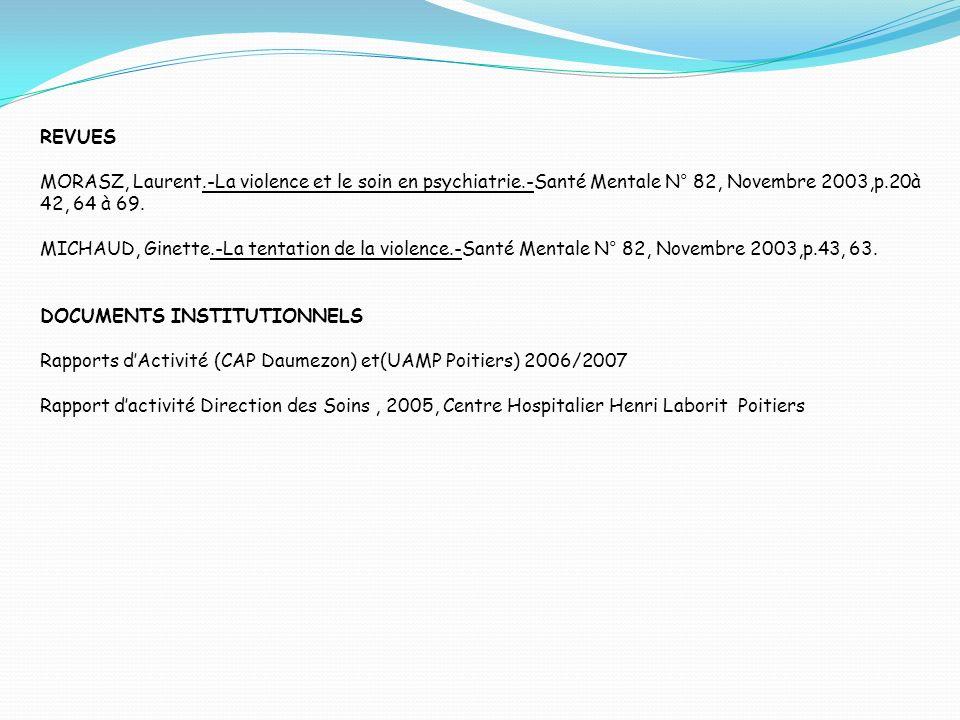 REVUES MORASZ, Laurent.-La violence et le soin en psychiatrie.-Santé Mentale N° 82, Novembre 2003,p.20à 42, 64 à 69. MICHAUD, Ginette.-La tentation de