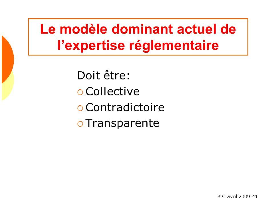 BPL avril 2009 41 Le modèle dominant actuel de lexpertise réglementaire Doit être: Collective Contradictoire Transparente