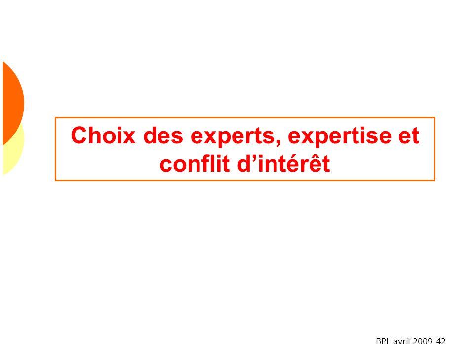 BPL avril 2009 42 Choix des experts, expertise et conflit dintérêt