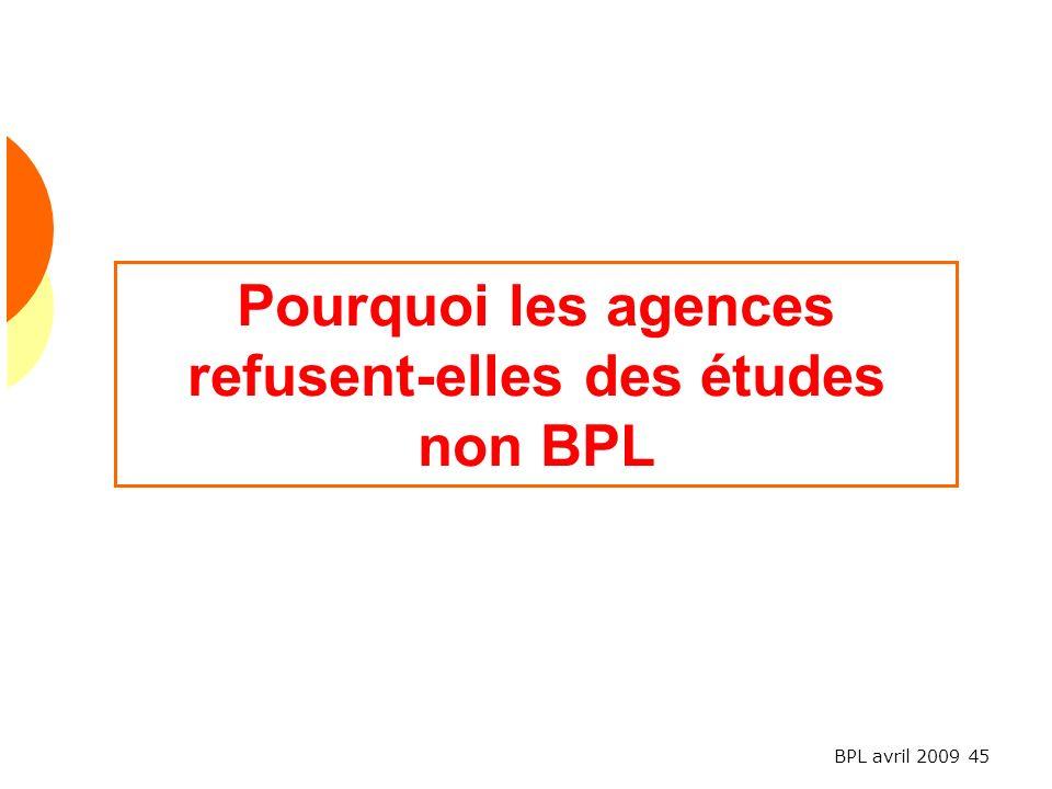 BPL avril 2009 45 Pourquoi les agences refusent-elles des études non BPL