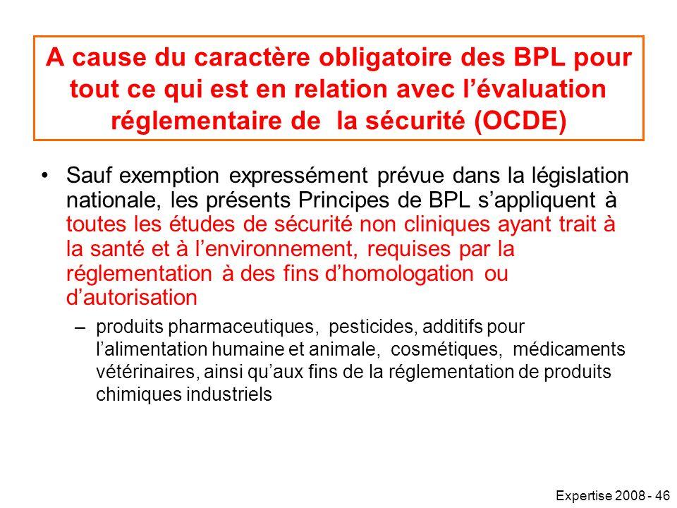 Expertise 2008 - 46 A cause du caractère obligatoire des BPL pour tout ce qui est en relation avec lévaluation réglementaire de la sécurité (OCDE) Sauf exemption expressément prévue dans la législation nationale, les présents Principes de BPL sappliquent à toutes les études de sécurité non cliniques ayant trait à la santé et à lenvironnement, requises par la réglementation à des fins dhomologation ou dautorisation –produits pharmaceutiques, pesticides, additifs pour lalimentation humaine et animale, cosmétiques, médicaments vétérinaires, ainsi quaux fins de la réglementation de produits chimiques industriels