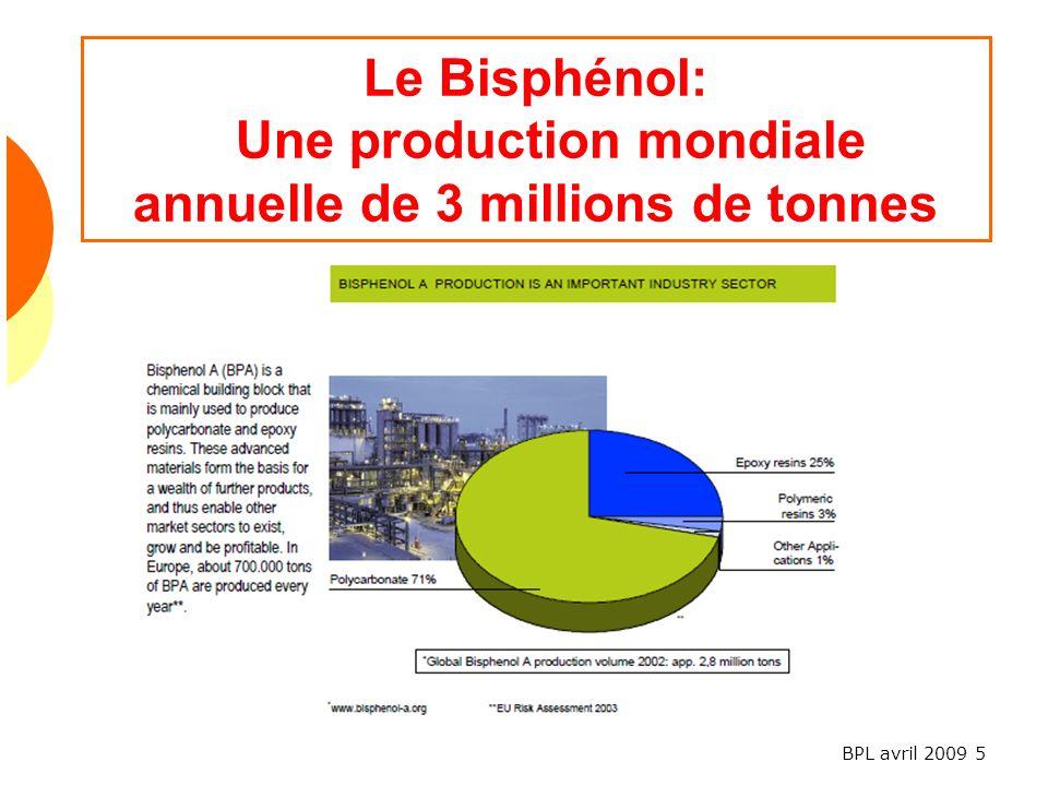 BPL avril 2009 5 Le Bisphénol: Une production mondiale annuelle de 3 millions de tonnes