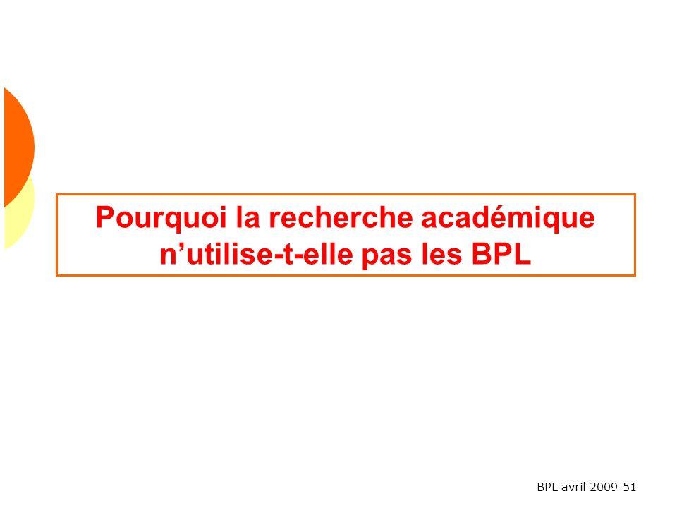 BPL avril 2009 51 Pourquoi la recherche académique nutilise-t-elle pas les BPL