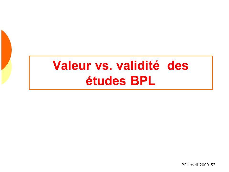 BPL avril 2009 53 Valeur vs. validité des études BPL