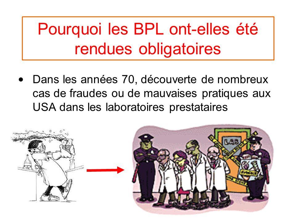Pourquoi les BPL ont-elles été rendues obligatoires Dans les années 70, découverte de nombreux cas de fraudes ou de mauvaises pratiques aux USA dans les laboratoires prestataires
