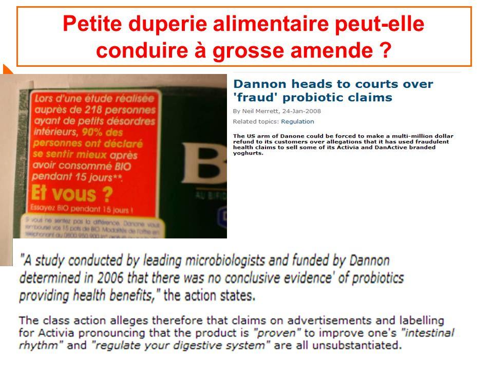 BPL avril 2009 57 Petite duperie alimentaire peut-elle conduire à grosse amende ?
