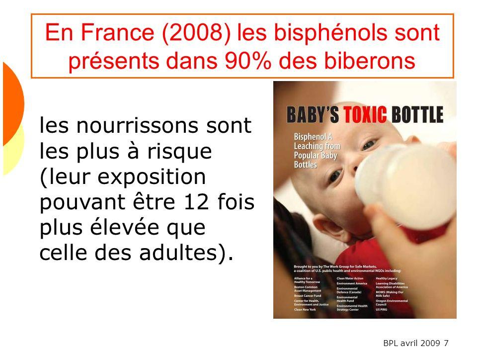 BPL avril 2009 7 En France (2008) les bisphénols sont présents dans 90% des biberons les nourrissons sont les plus à risque (leur exposition pouvant être 12 fois plus élevée que celle des adultes).