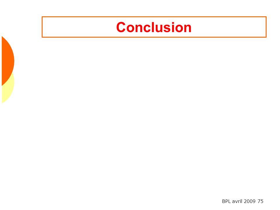 BPL avril 2009 75 Conclusion