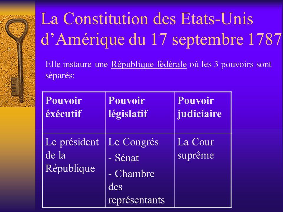 La Constitution des Etats-Unis dAmérique du 17 septembre 1787 Pouvoir éxécutif Pouvoir législatif Pouvoir judiciaire Le président de la République Le