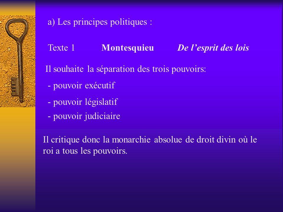 Texte 1 Montesquieu De lesprit des lois Il souhaite la séparation des trois pouvoirs: - pouvoir exécutif - pouvoir législatif - pouvoir judiciaire Il