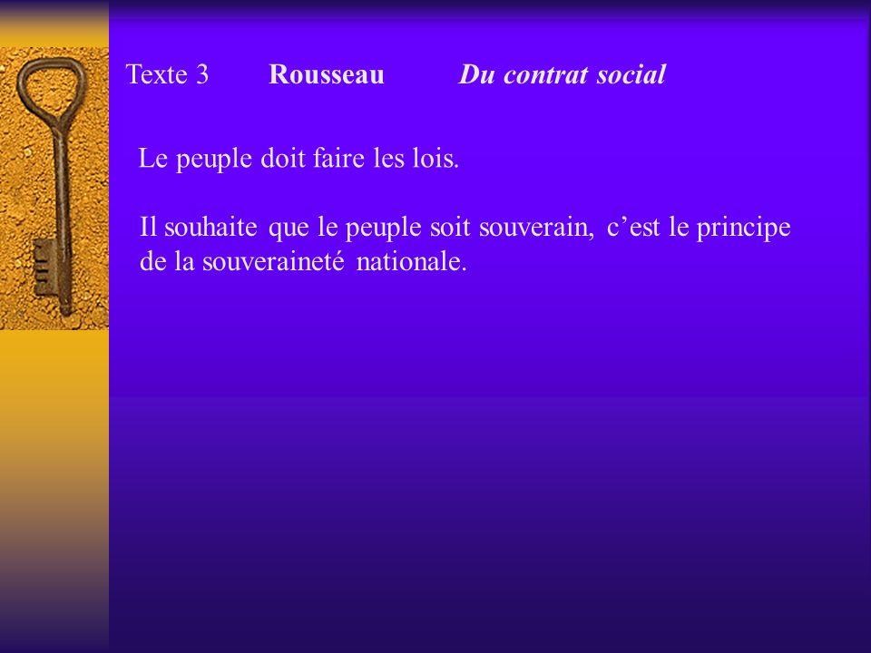 Texte 3 Rousseau Du contrat social Le peuple doit faire les lois. Il souhaite que le peuple soit souverain, cest le principe de la souveraineté nation