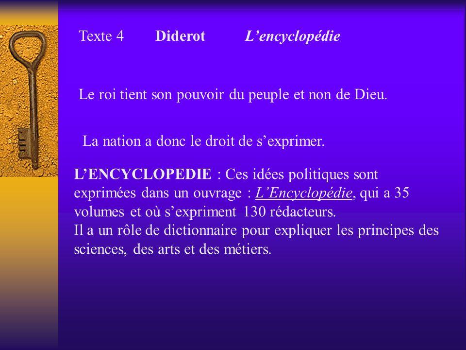 Texte 4 Diderot Lencyclopédie Le roi tient son pouvoir du peuple et non de Dieu. La nation a donc le droit de sexprimer. LENCYCLOPEDIE : Ces idées pol