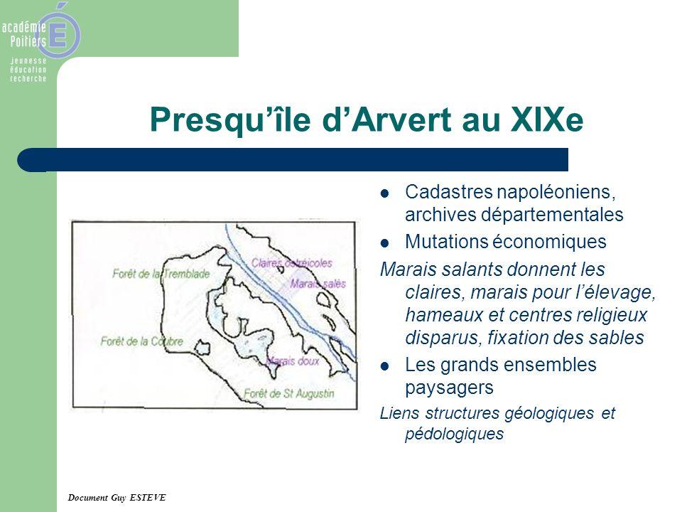 Presquîle dArvert au XIXe Cadastres napoléoniens, archives départementales Mutations économiques Marais salants donnent les claires, marais pour lélev