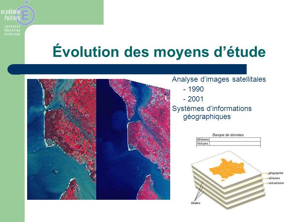 Évolution des moyens détude Analyse dimages satellitales - 1990 - 2001 Systèmes dinformations géographiques