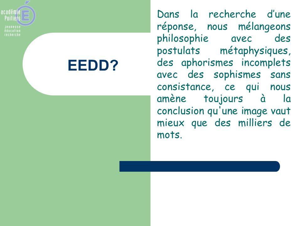 EEDD? Dans la recherche dune réponse, nous mélangeons philosophie avec des postulats métaphysiques, des aphorismes incomplets avec des sophismes sans