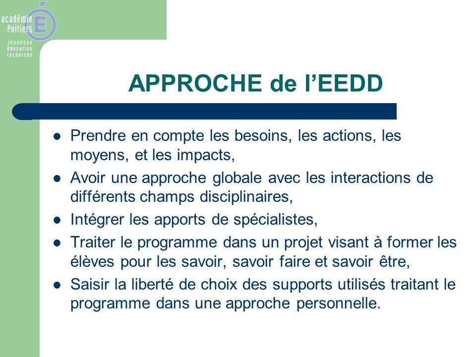 APPROCHE de lEEDD Prendre en compte les besoins, les actions, les moyens, et les impacts, Avoir une approche globale avec les interactions de différen