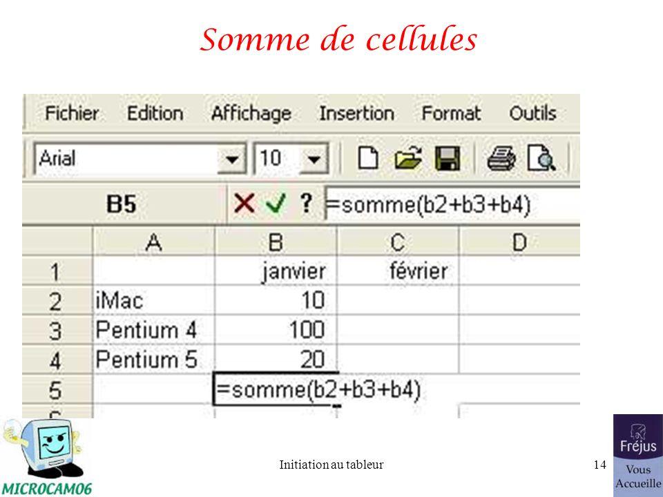 Initiation au tableur13 Formule pour les sommes SOMME(nombre1;nombre2;...) nombre1, nombre2,... représentent de 1 à 30 arguments dont vous voulez calc