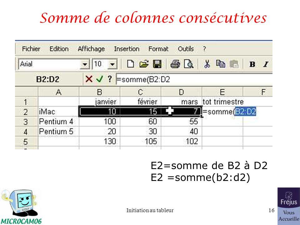 Initiation au tableur15 Somme de lignes consécutives B5 = somme de B2 à B4