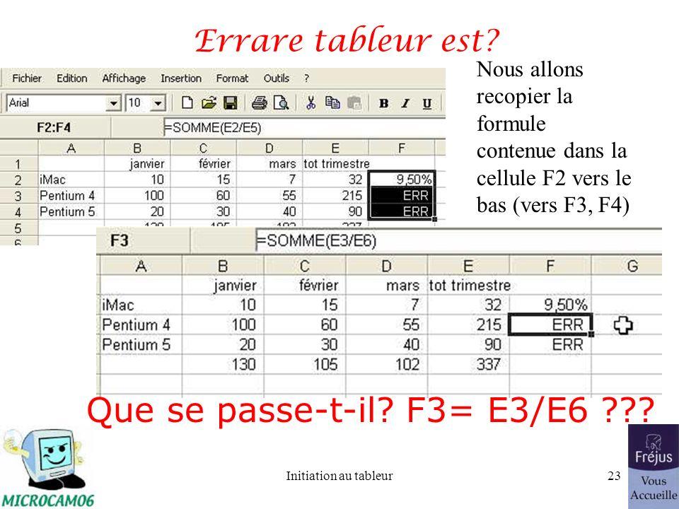 Initiation au tableur22 Recopier les calculs et les formats