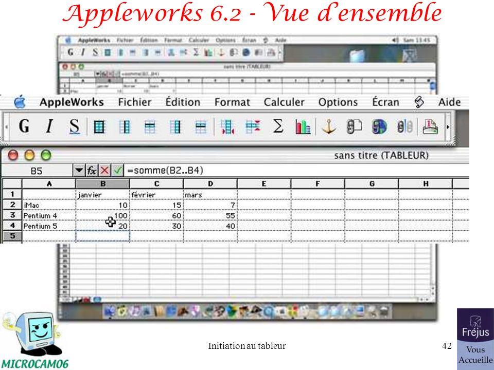 Initiation au tableur41 Premier tableau avec Appleworks 6.2