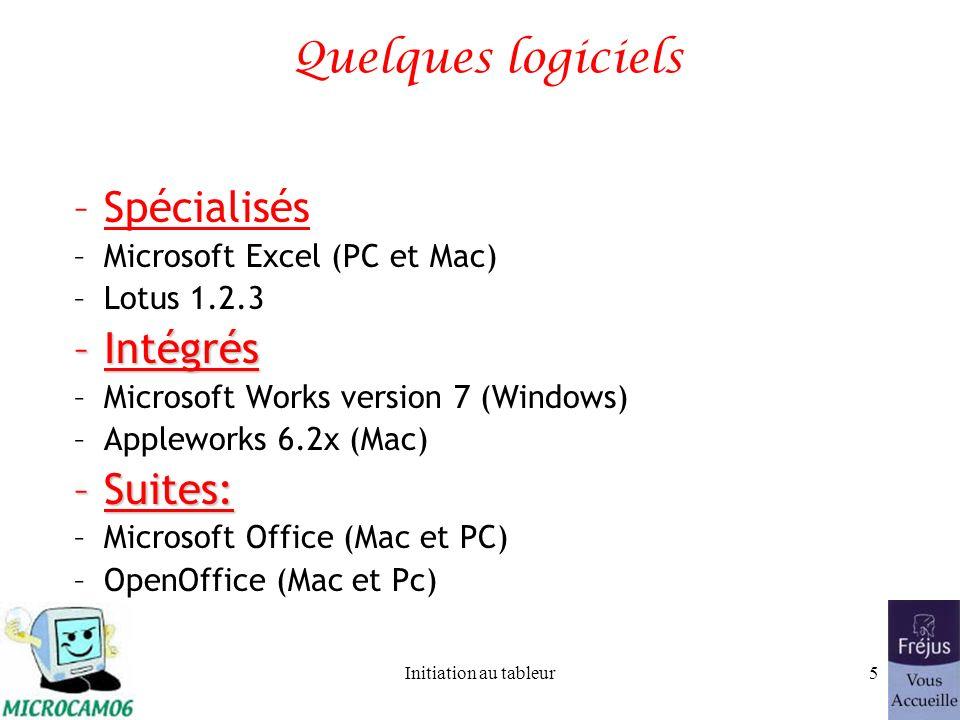 Initiation au tableur4 Un intégré ou un logiciel spécialisé? Le choix entre intégré ou spécialisé dépend de 2 critères principaux: -le prix -l'utilisa