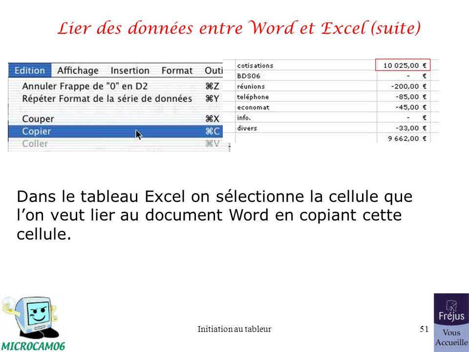 Initiation au tableur50 Lier des données entre Word et Excel