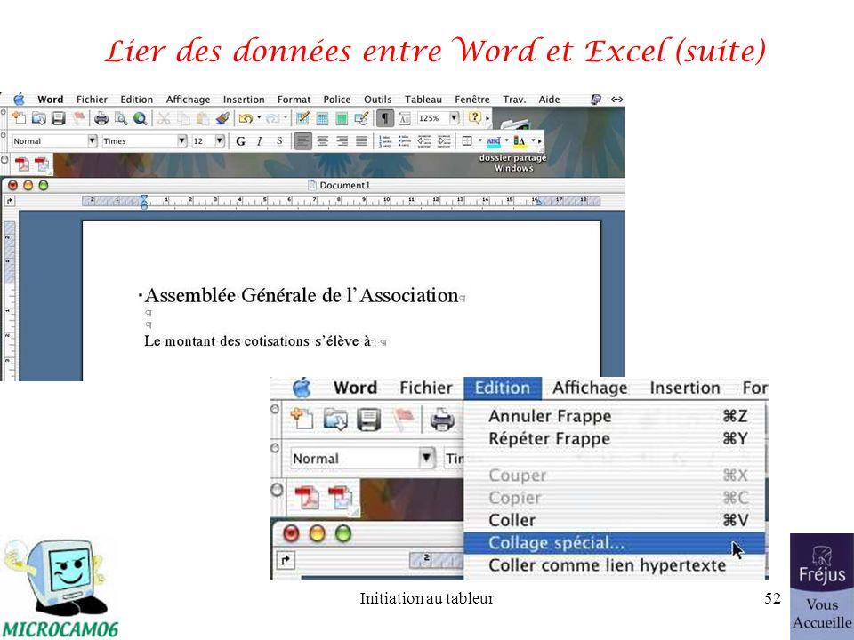 Initiation au tableur51 Lier des données entre Word et Excel (suite) Dans le tableau Excel on sélectionne la cellule que lon veut lier au document Word en copiant cette cellule.