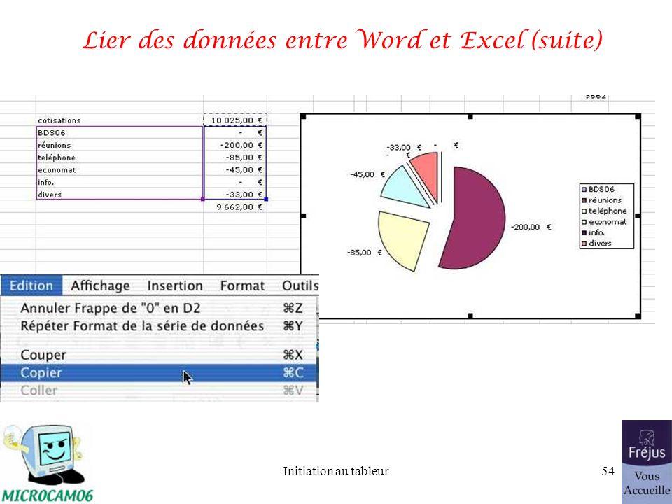 Initiation au tableur53 Lier des données entre Word et Excel (suite)