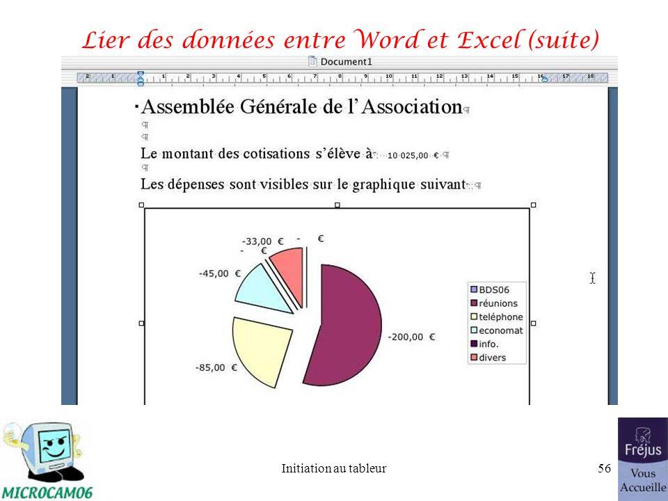 Initiation au tableur55 Lier des données entre Word et Excel (suite)