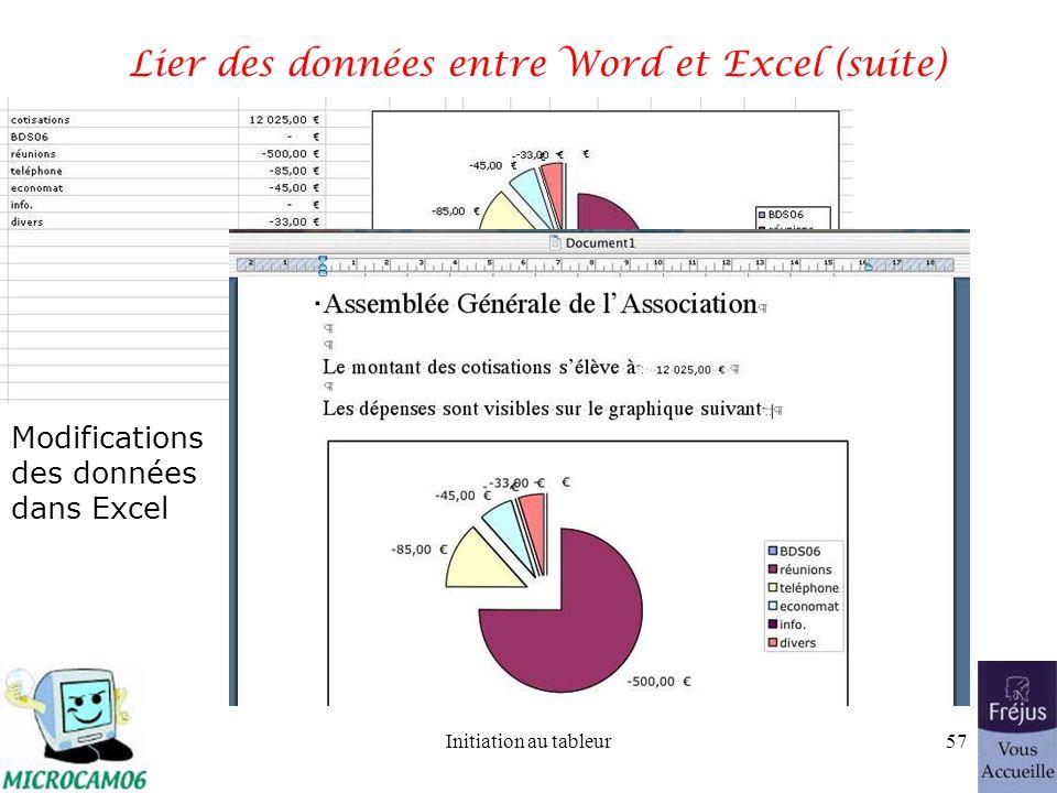 Initiation au tableur56 Lier des données entre Word et Excel (suite)