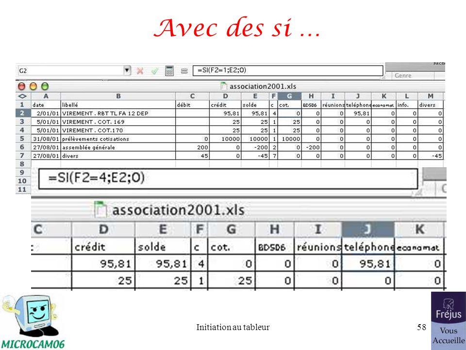 Initiation au tableur57 Lier des données entre Word et Excel (suite) Modifications des données dans Excel