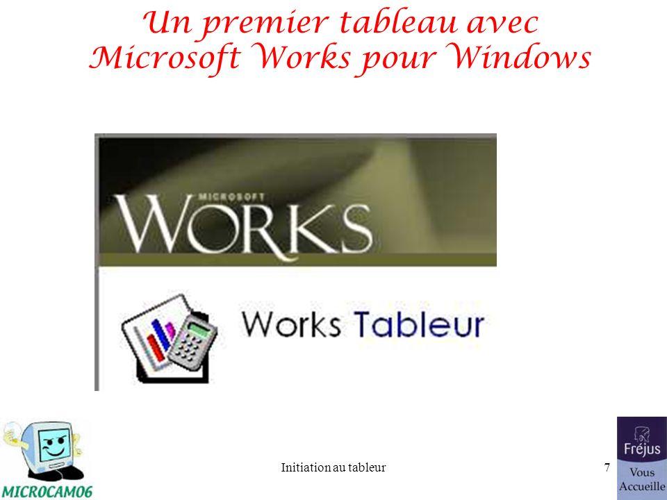 Initiation au tableur6 Combien ça coûte? –Microsoft Works 8.0 (Win) 50 –AppleWorks 6.2 (Mac) 107 –Excel 2003 (Win) 310 –Excel 2003 maj (Win) 140 –Exce