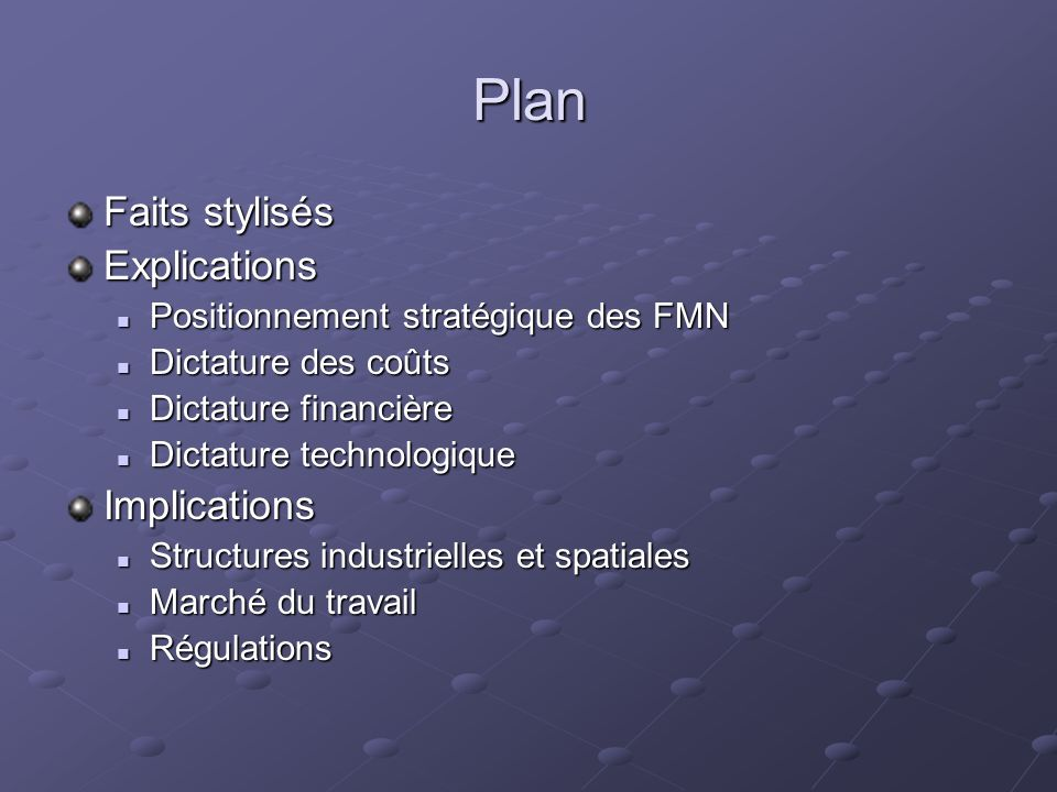 Plan Faits stylisés Explications Positionnement stratégique des FMN Positionnement stratégique des FMN Dictature des coûts Dictature des coûts Dictatu