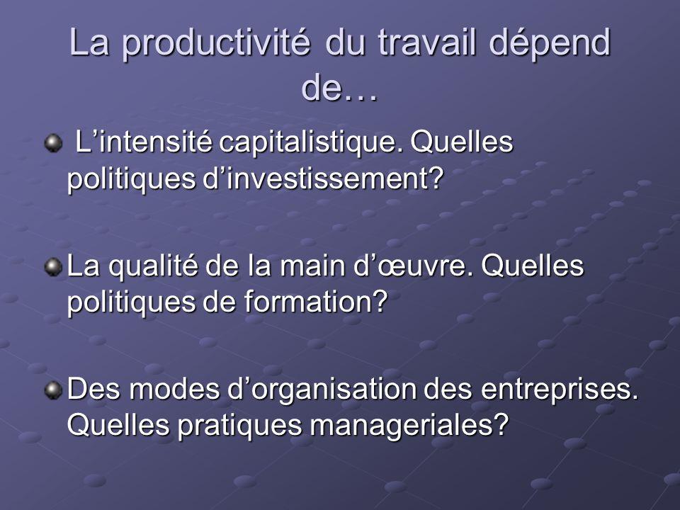 La productivité du travail dépend de… Lintensité capitalistique. Quelles politiques dinvestissement? Lintensité capitalistique. Quelles politiques din