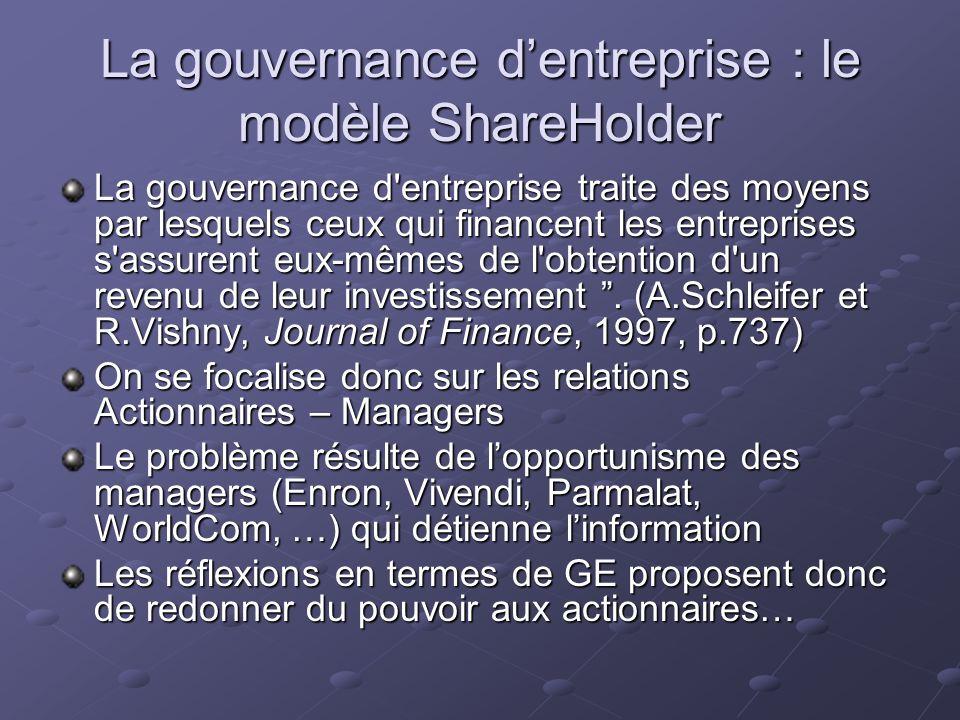 La gouvernance dentreprise : le modèle ShareHolder La gouvernance d'entreprise traite des moyens par lesquels ceux qui financent les entreprises s'ass