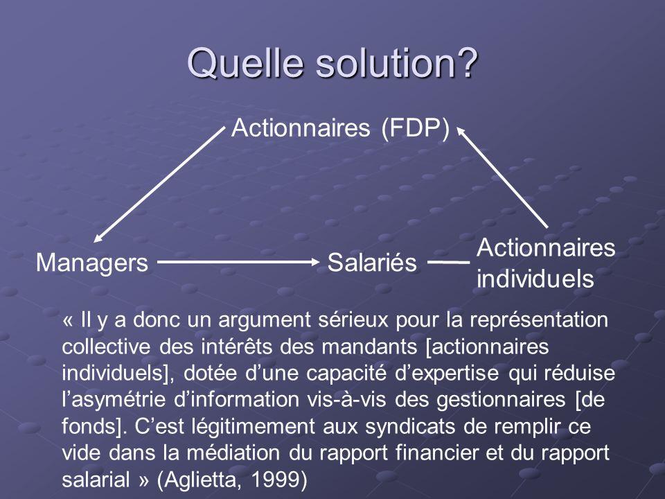 Quelle solution? Actionnaires (FDP) ManagersSalariés Actionnaires individuels « Il y a donc un argument sérieux pour la représentation collective des