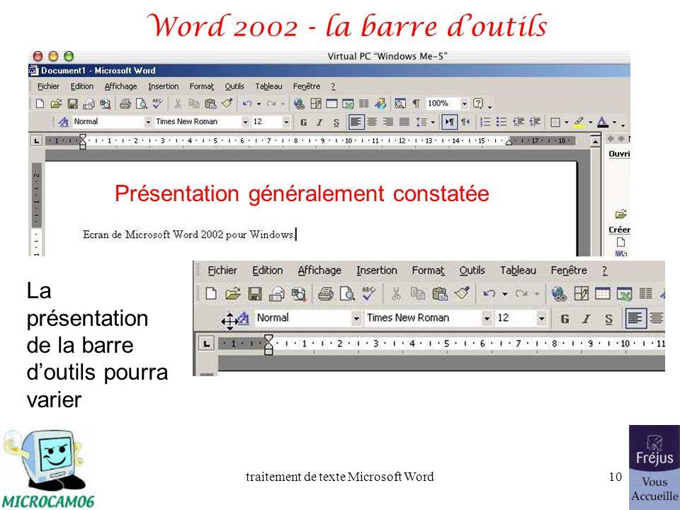 traitement de texte Microsoft Word9 Vue générale de Microsoft Word 2002 Nom du document Barre des menus Barre doutils document marges règles Volet Off