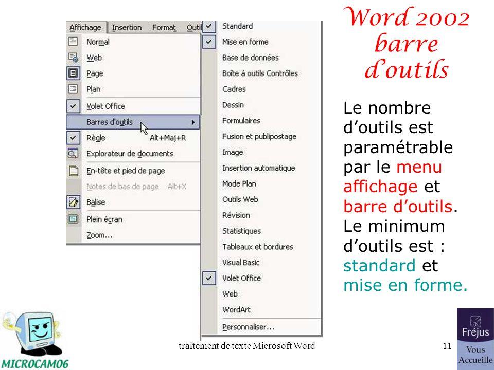 traitement de texte Microsoft Word10 Word 2002 - la barre doutils La présentation de la barre doutils pourra varier Présentation généralement constaté